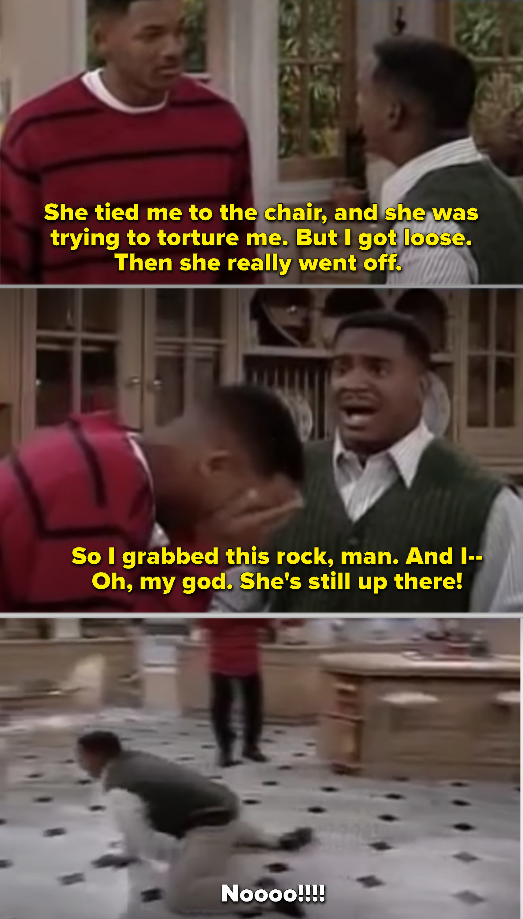 "Carlton crawling on the kitchen floor and screaming in ""The Fresh Prince"""