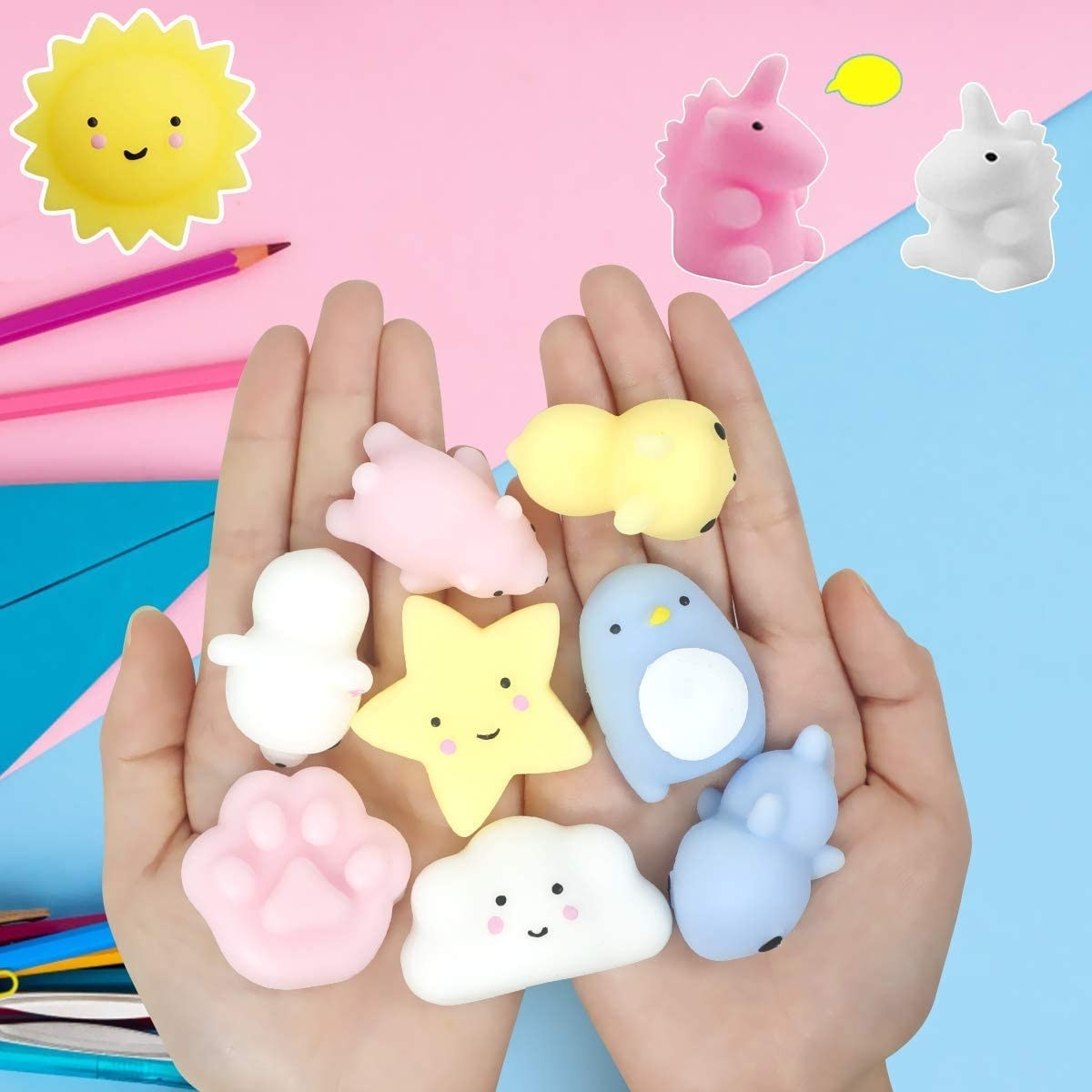 open hands with squishy toys in them