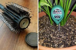split thumbnail of round hair brush with storage for money inside, humidity measure in potted plant