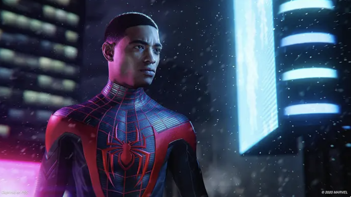 Miles Morales in his signature Spider-Man suit, mask off, surrounded by snow flurries