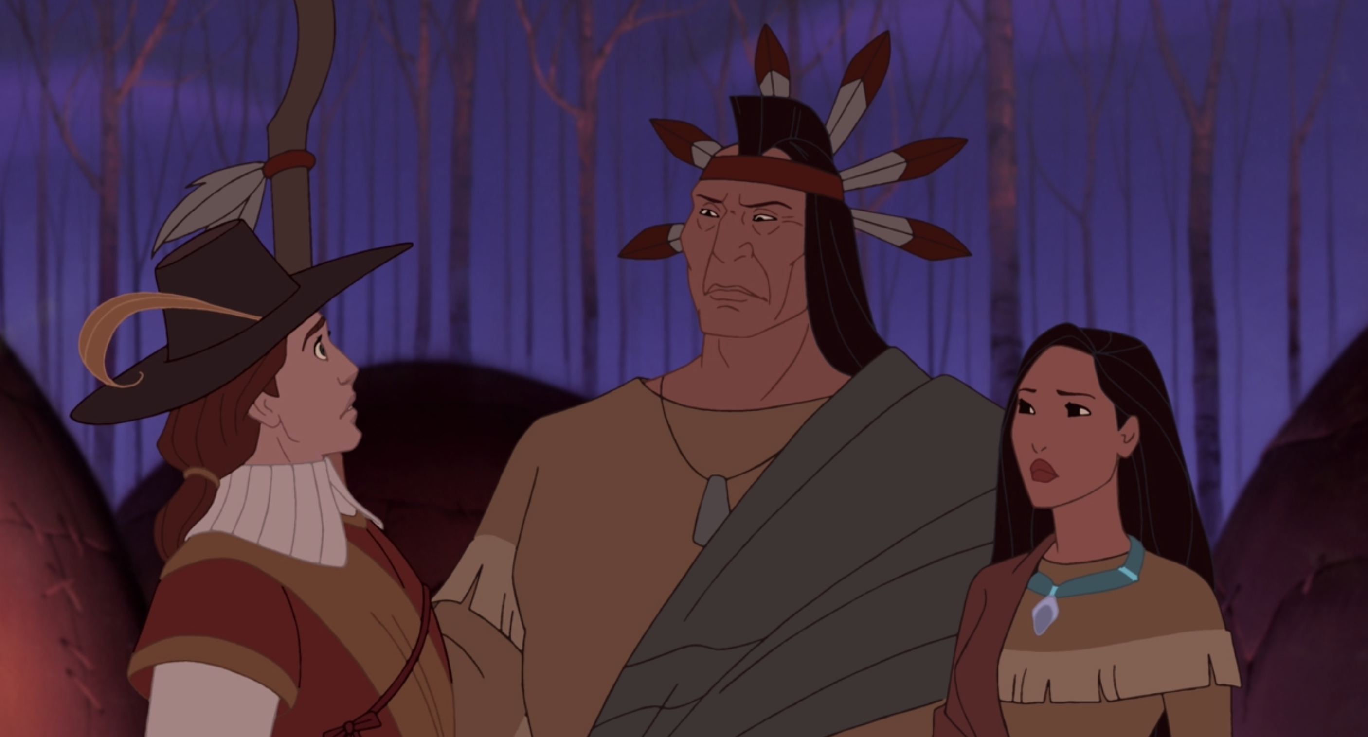 Pocahontas and her father speaking to John Rolfe