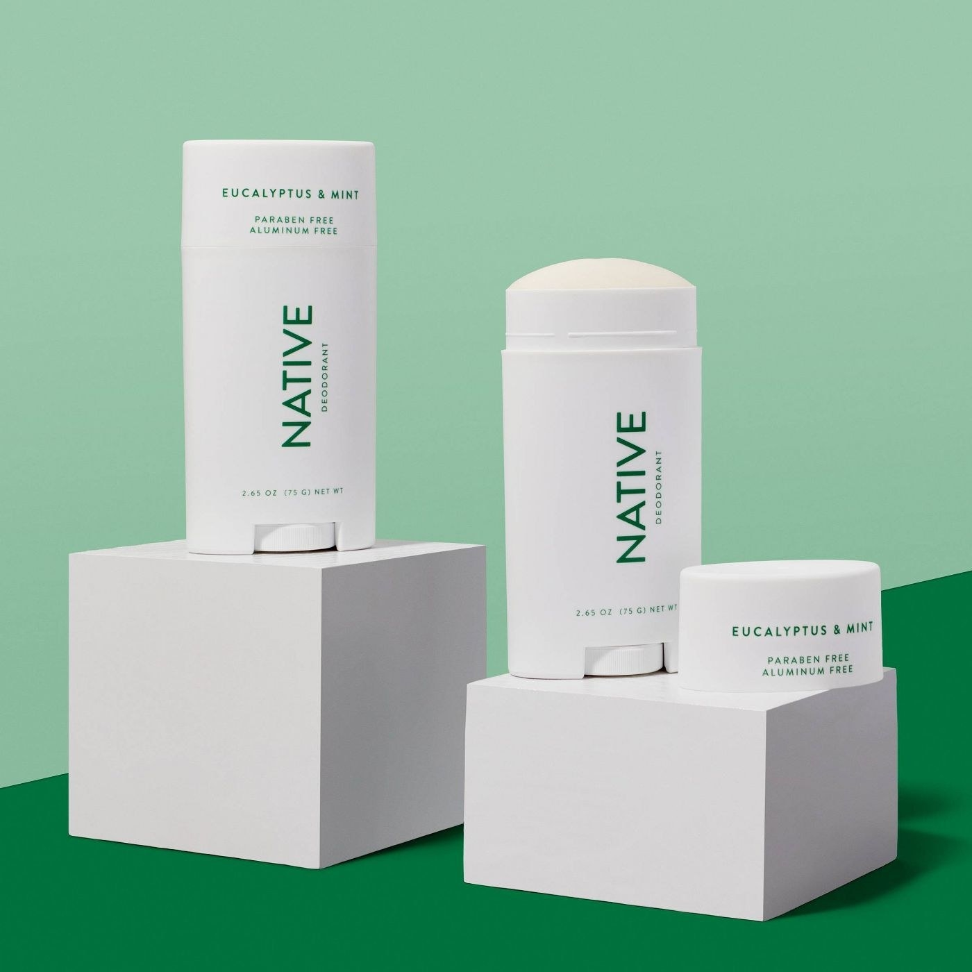 The Native deodorant in eucalyptus and mint with the cap removed to show the consistency of the product