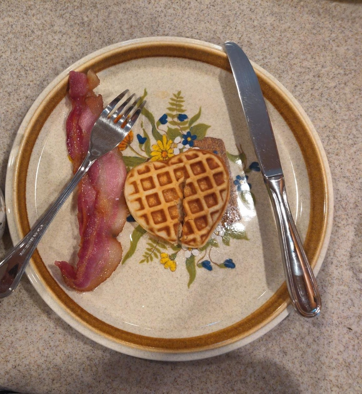 a heart-shaped waffle cut in half