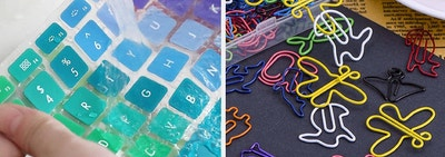 split thumbnail of mac book keyboard running under water for cleaning, colorful animal-shaped paper clips