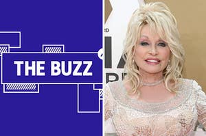 Splitscreen of purple graphic with THE BUZZ in white letters on the right side and photo of Dolly Parton on the left side (CREDIT: GETTY)