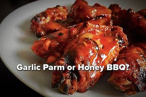 "Chicken wings with the words ""Garlic Parm or Honey BBQ""?"
