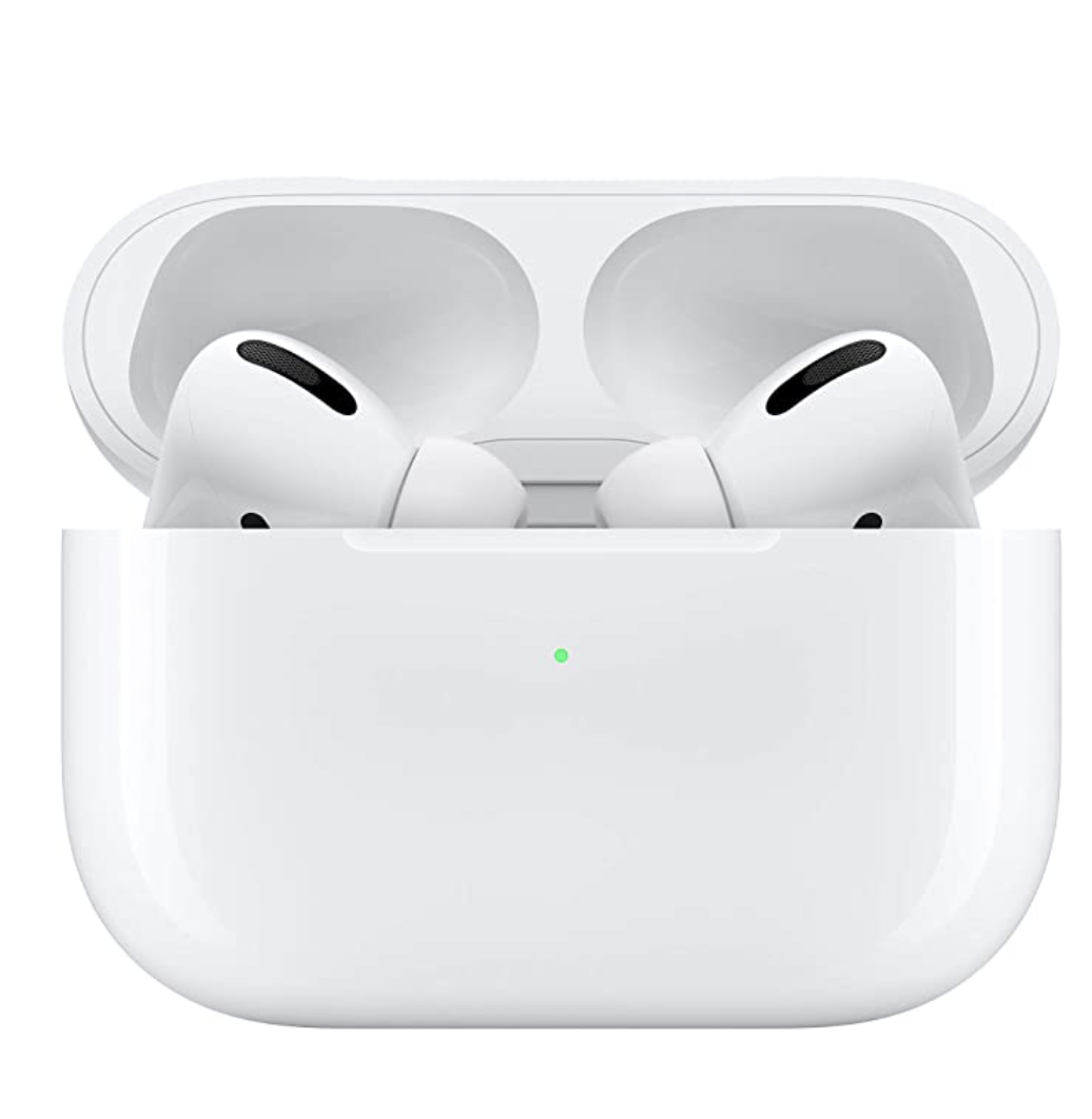 Apple AirPods in a white case
