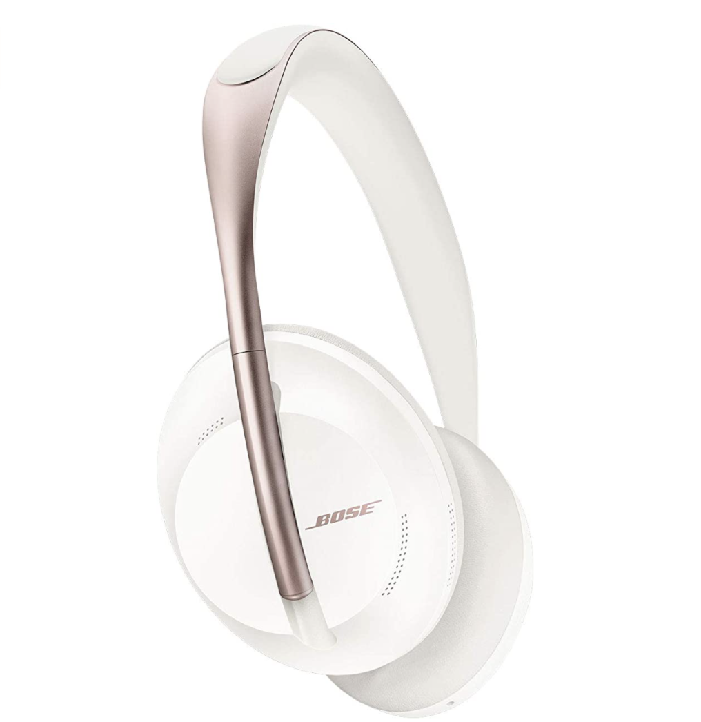 Bose headphones in white with a rose gold accent