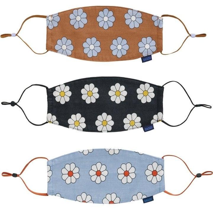 three floral print masks