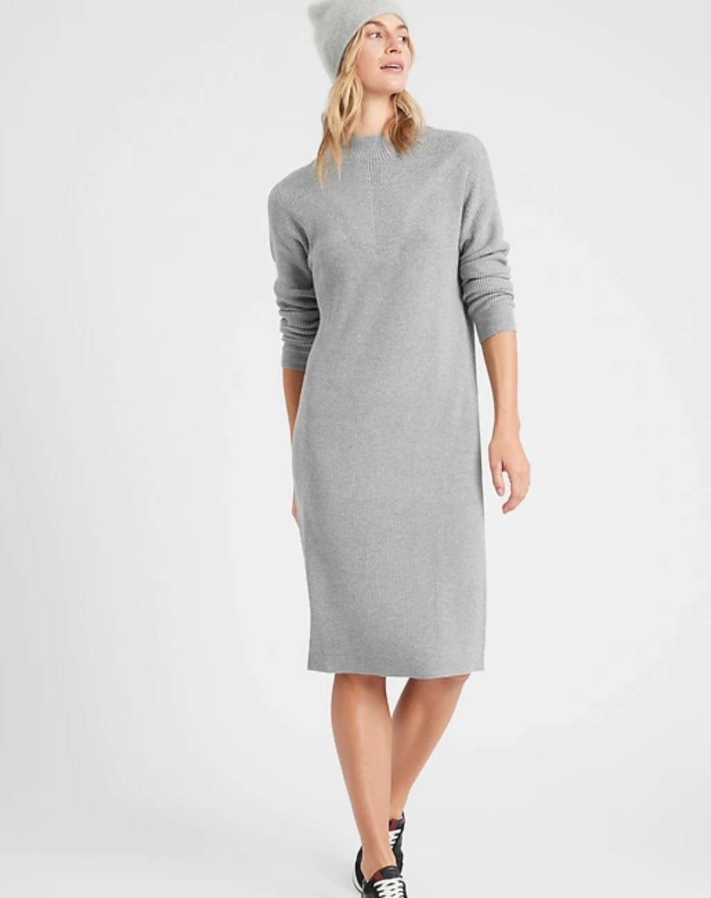 The textured sweater dress in heather gray