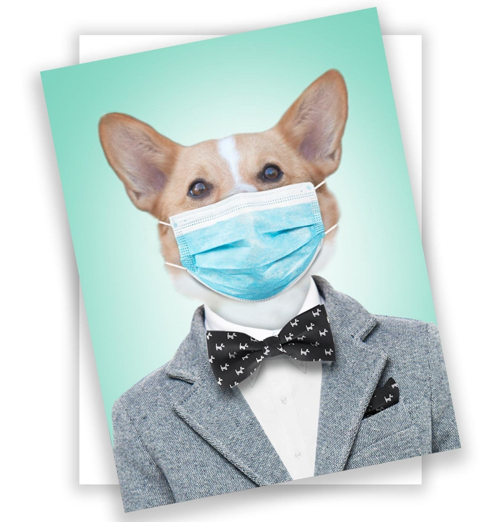 the card of a corgi wearing a suit, a bow tie, and a mask