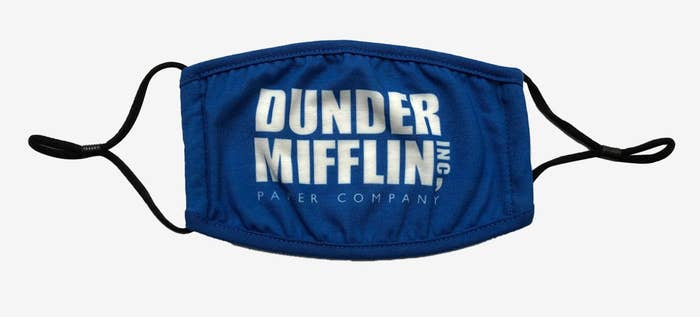 The blue mask with the Dunder Mifflin text in white on it