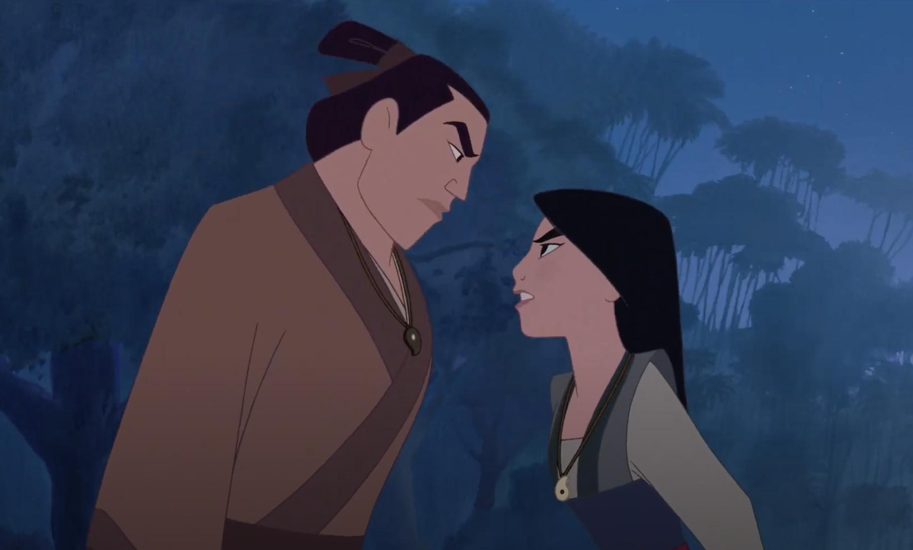 Shang and Mulan arguing