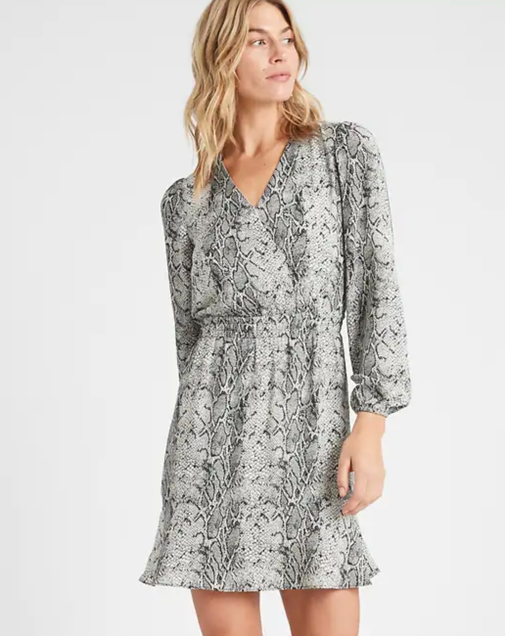 The petit fit and flare dress in grey snakeskin