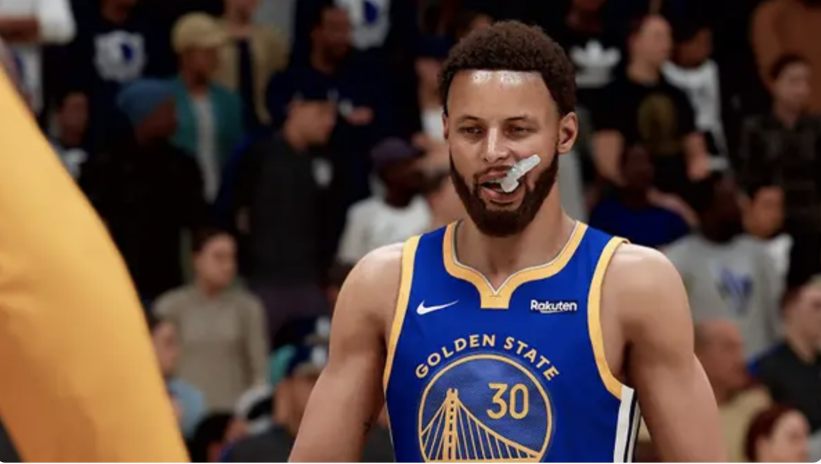Steph Curry chewing on his mouthguard
