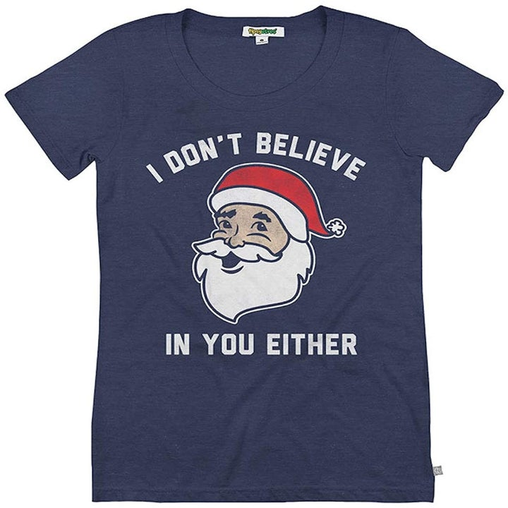 """navy tee with santa's face that says """"I don't believe in you either"""""""
