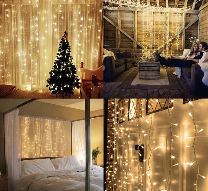 string lights displayed hanging in bedroom, outside, and on curtains