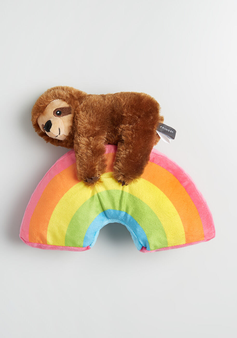 fuzzy sloth clinging rainbow