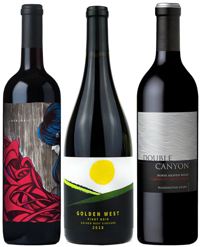 Three bottles of wine photographed side by side