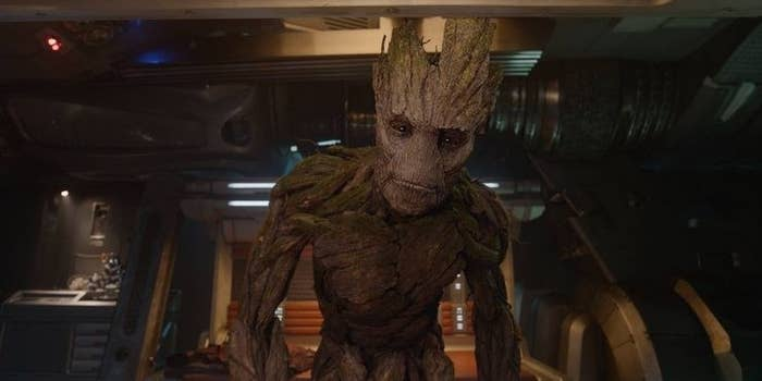 Adult Groot standing in a spaceship looking confused