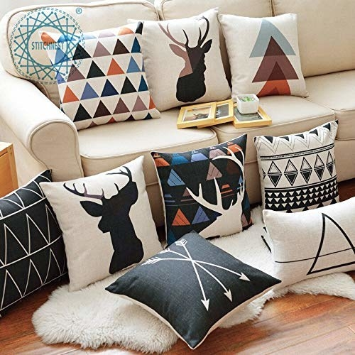 Cushion covers with colorful prints.