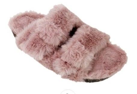 A pink fuzzy slipper
