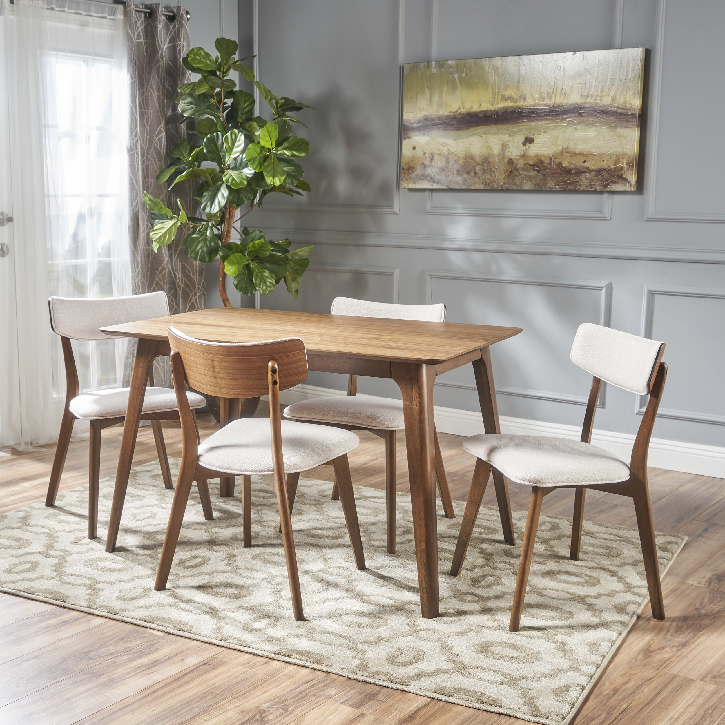 The light brown dining set in a dining room