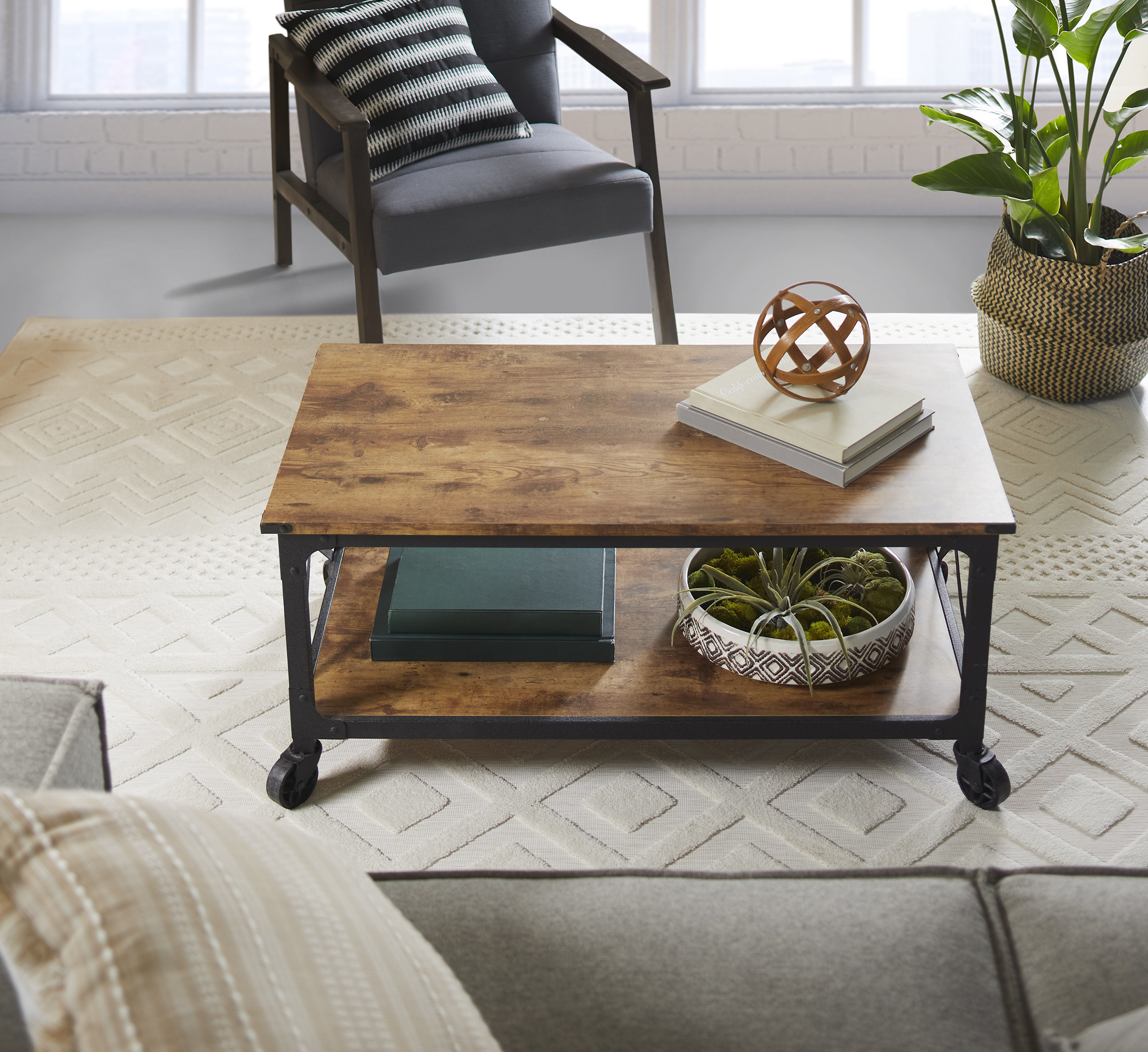 The dark wood coffee table in a living room
