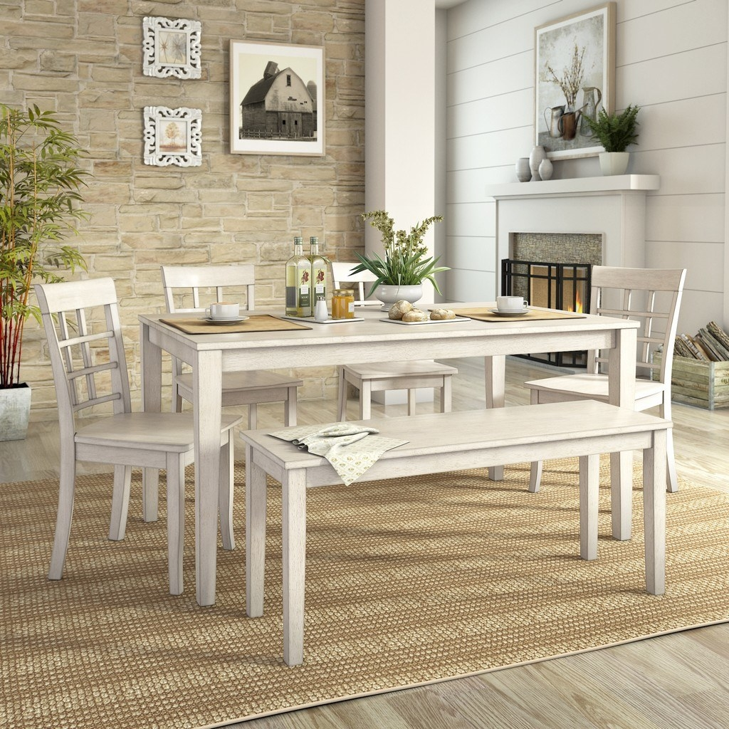 The white dining set in a dining room