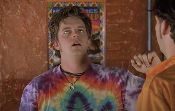 Breuer wears a tie-dyed shirt and looks very stoned in the film