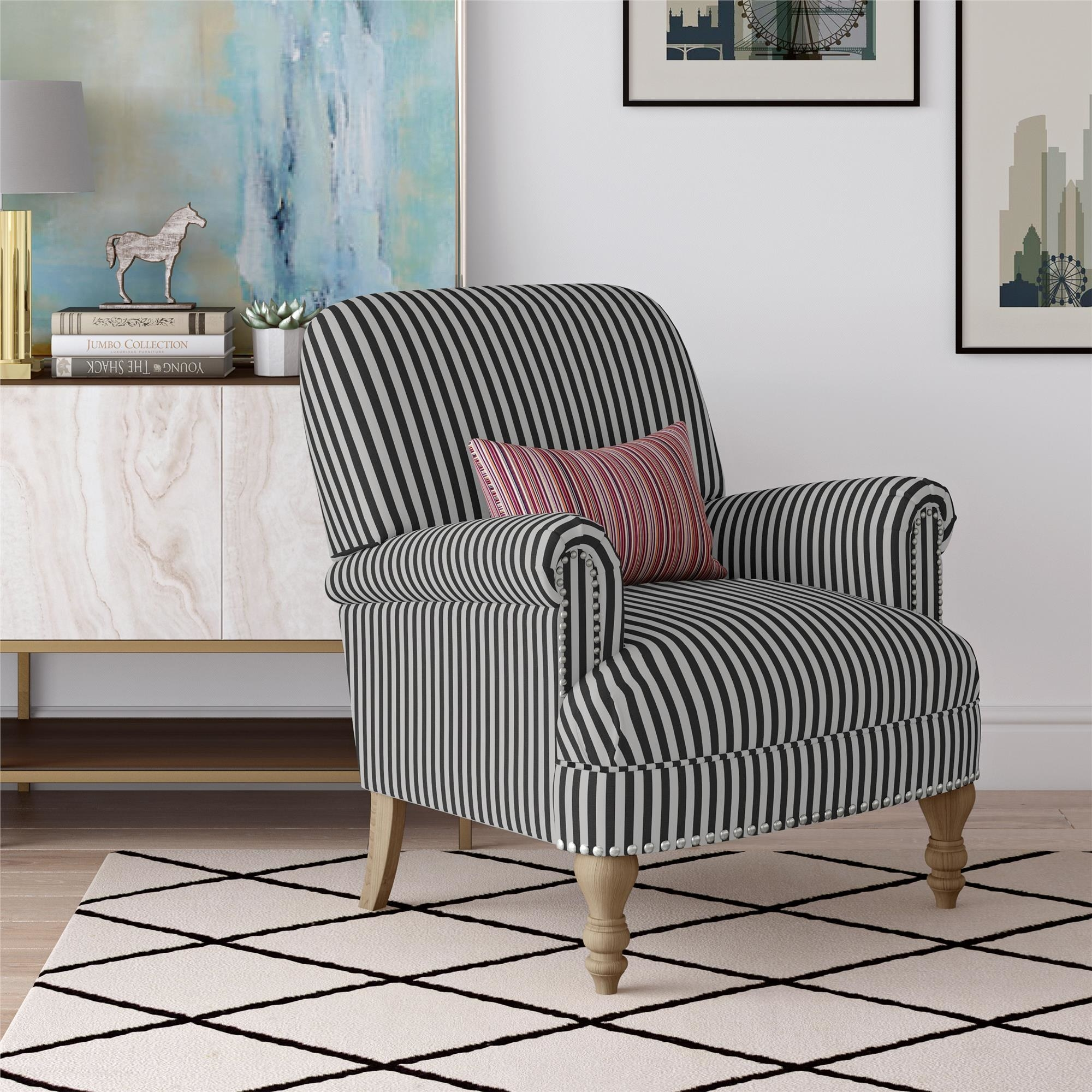 The black and white striped chair in a living room