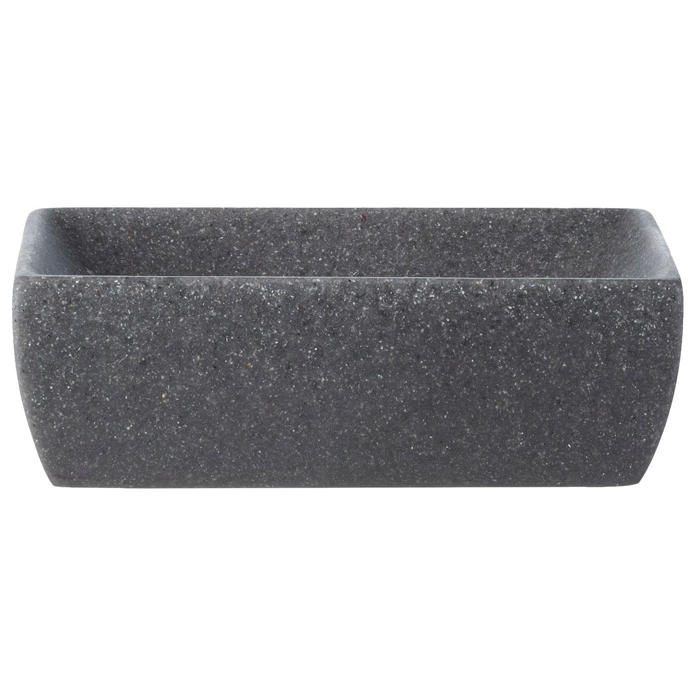 The soapdish, which is a flecked gray stone color, and is rectangular with a dipped center to keep your bar of soap secure and prevent dripping