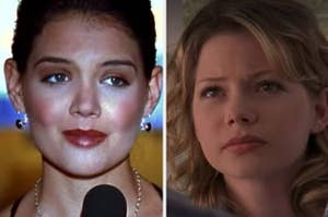 side-by-side close ups of Joey Potter and Jen Lindley