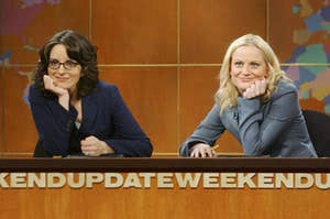 """Tina Fey and Amy Poehler on SNL's """"Weekend Update"""""""