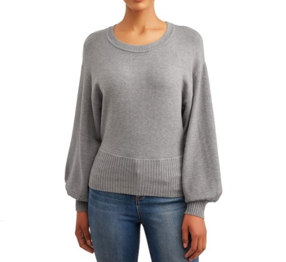 A gray balloon sleeved sweater