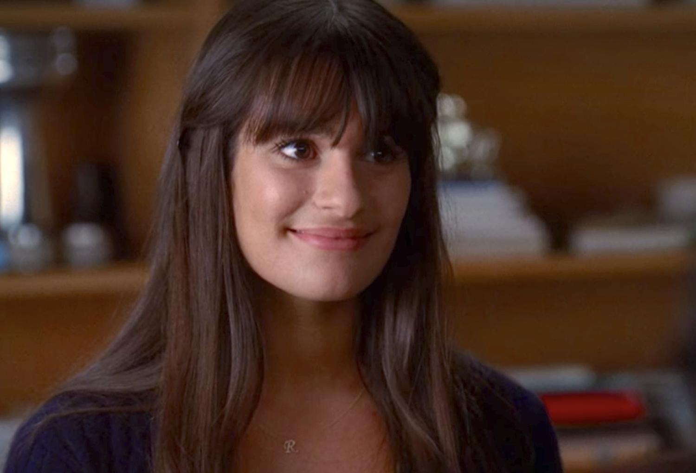 Rachel with straight across bangs