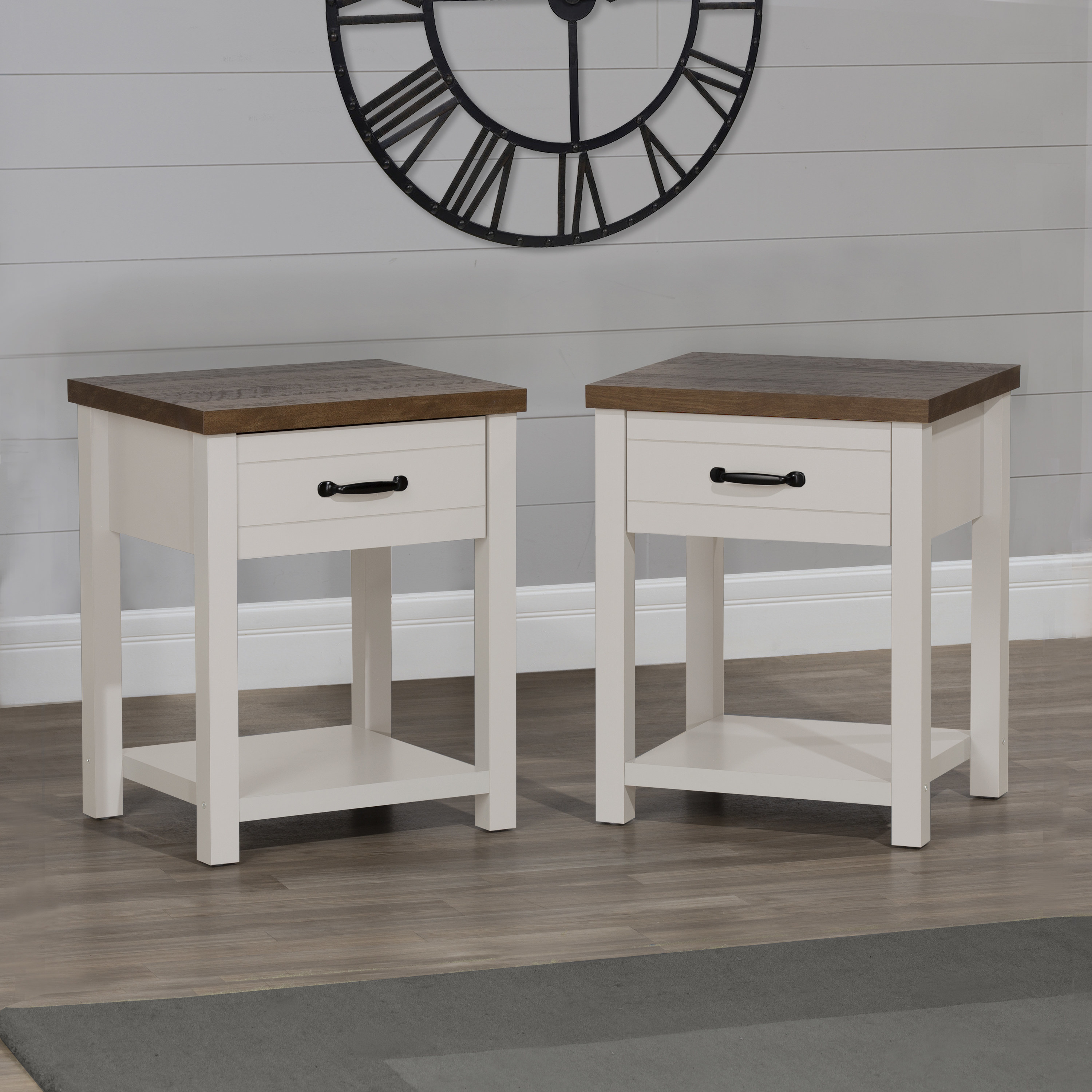 The set of white and dark wood nightstands