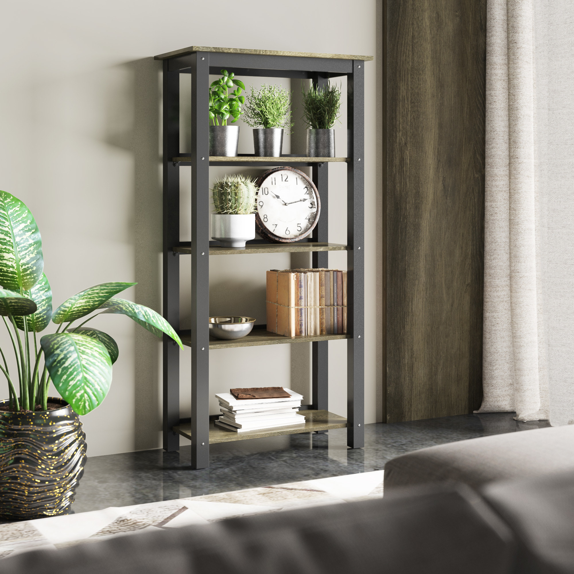 The black and tan bookshelf with decorations on it