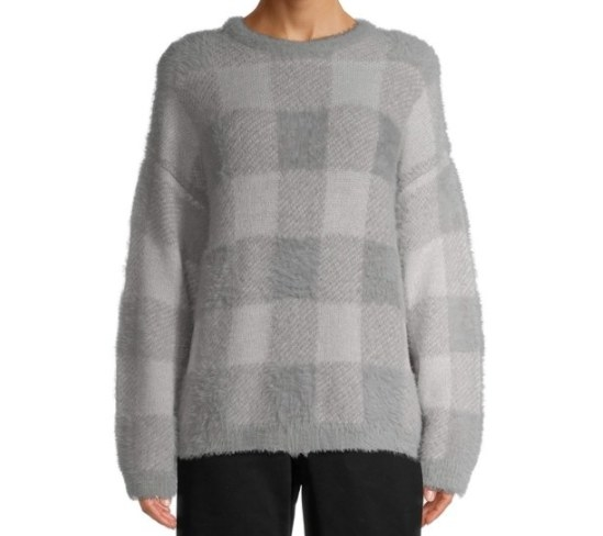 A light gray, fuzzy, plaid sweater