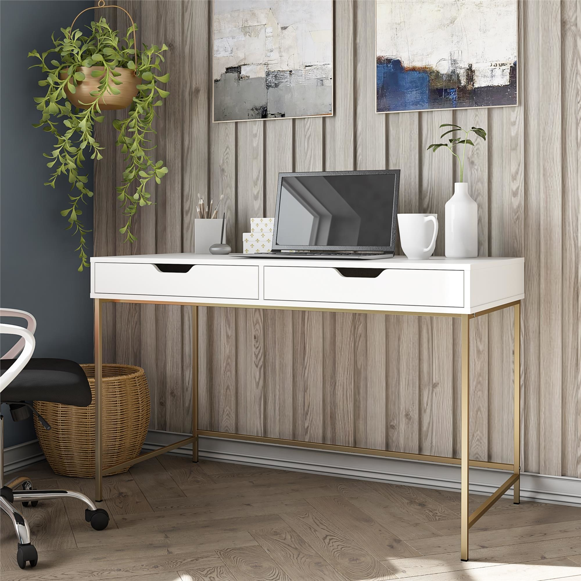The white and gold desk in an office