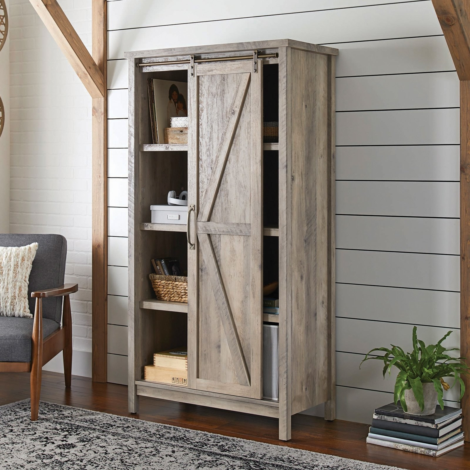 The grey cabinet in a living room