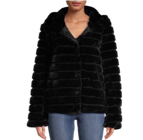 A black feaux fur coat