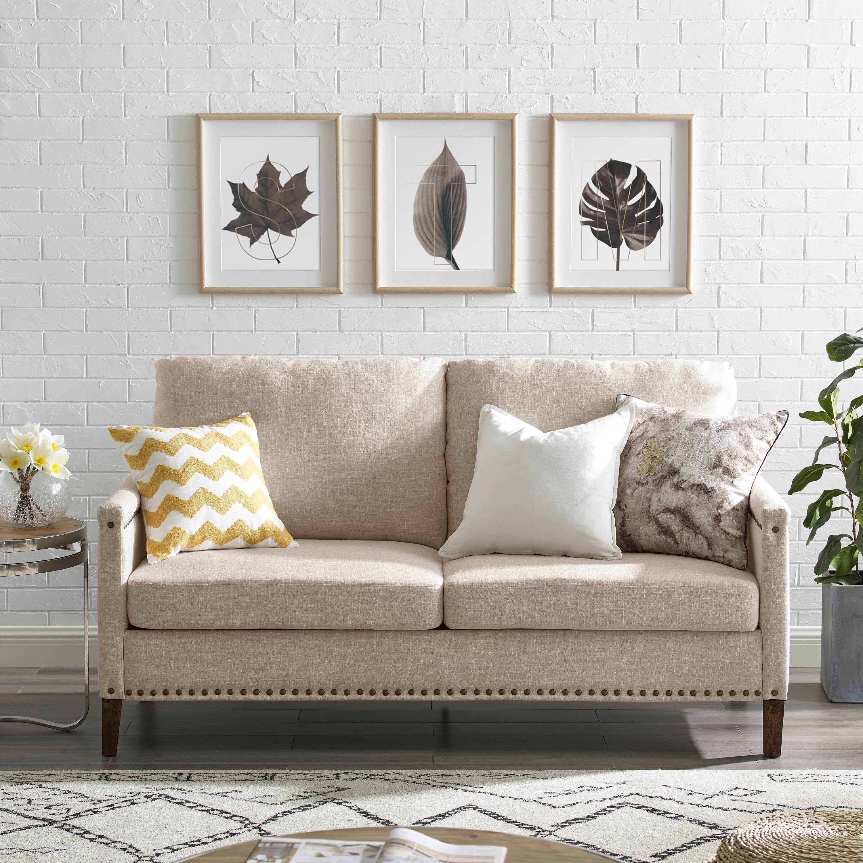 The tan sofa in a living room