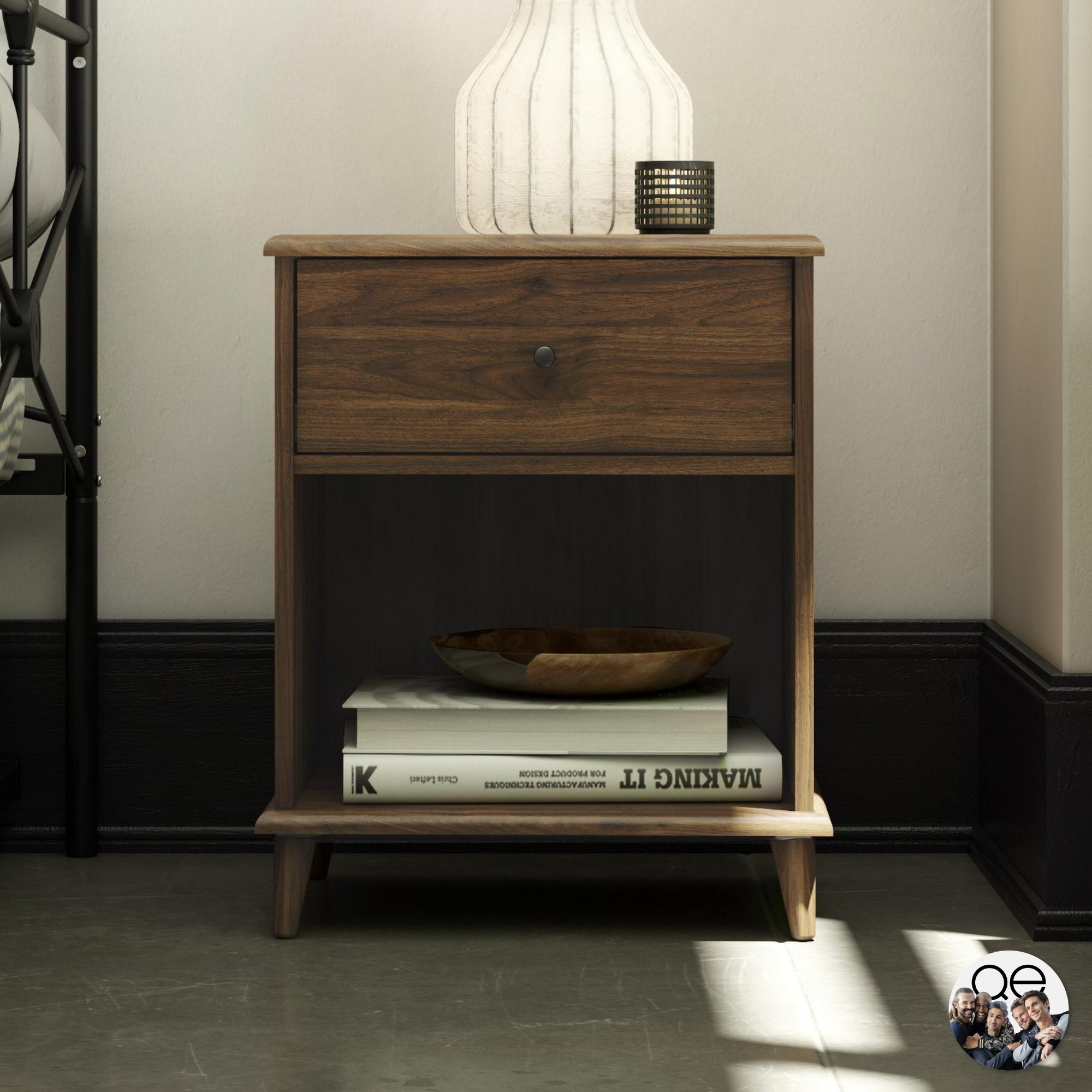 The brown nightstand with a lamp