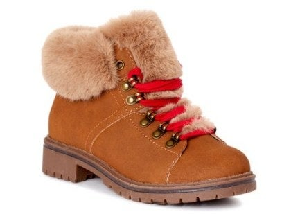 Faux fur, brown hiking boots with red laces