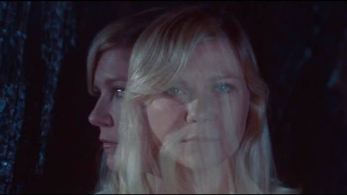 An artsy image of Dunst's face looking fractured