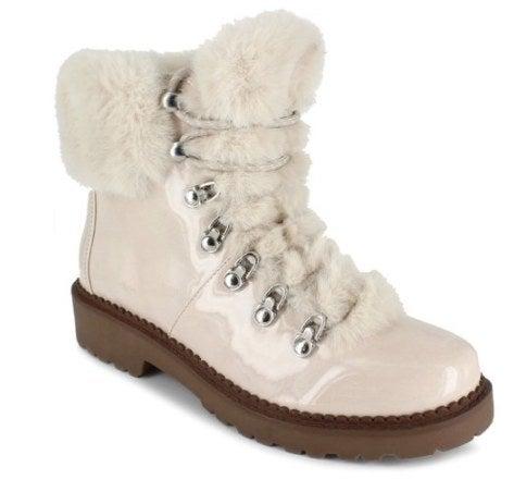 Cream colored faux fur boots