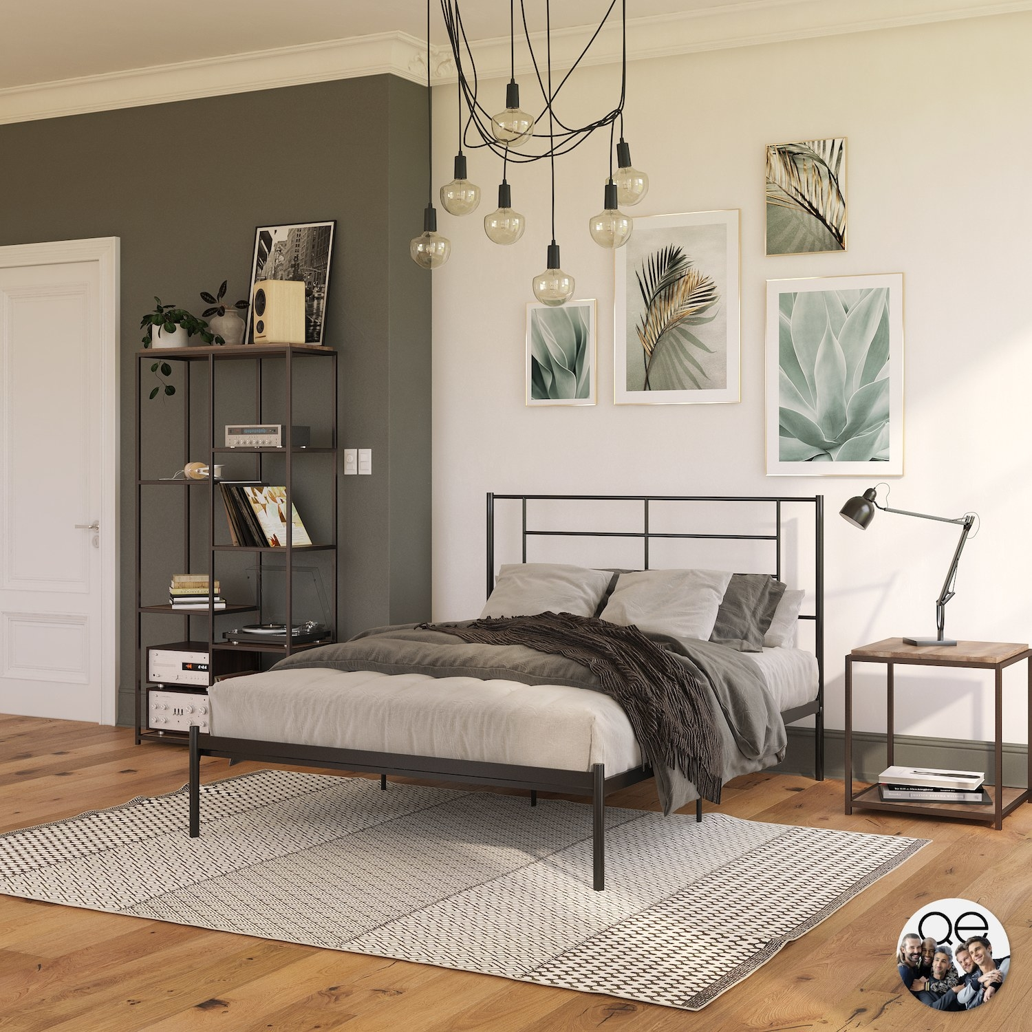 The black bed in a bedroom