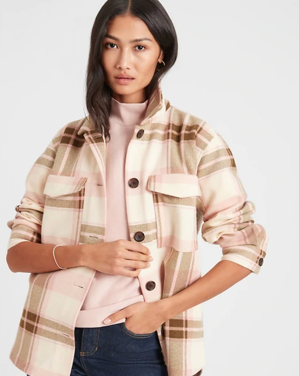 The shirt jacket in neutral plaid