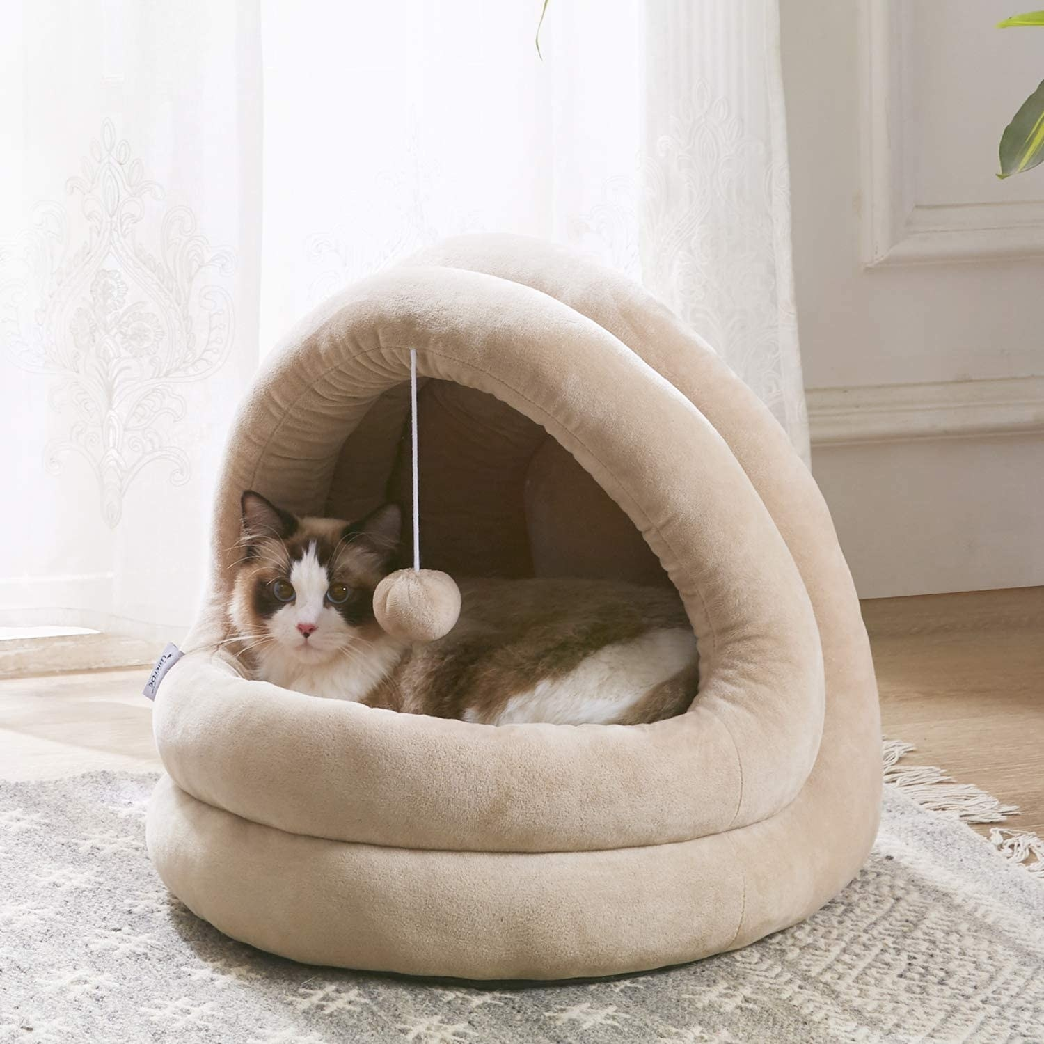 calico cat sitting inside of a beige cat cave/bed with a toy pom pom handing from the center of the cave